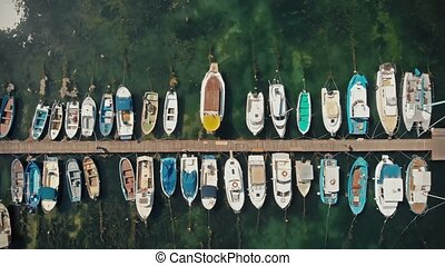 Yachts and boats in coast marine - Top view of yachts from...