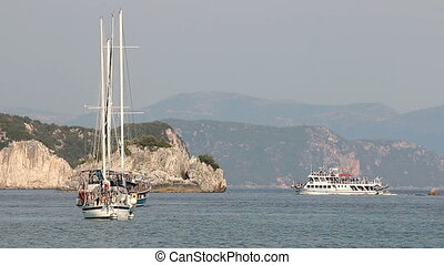 Yachts and boats on sea Parga Greece