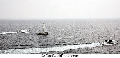 Yachts and sailboat in the Mediterranean sea Monaco