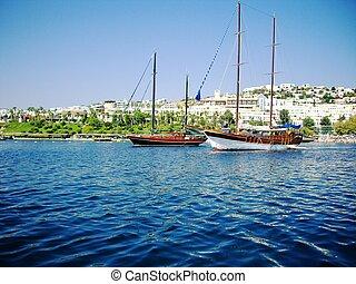 Yachts at coast of Aegean - Yachts at sea ,(Bodrum, Turkey)