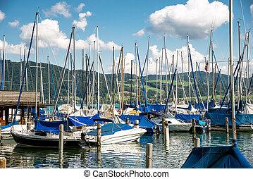 yachts at marina in the lake