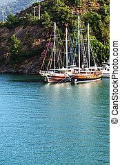 Yachts at the pier on Turkish resort, Fethiye, Turkey