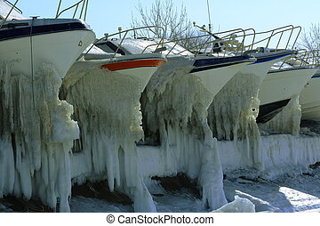 yachts at the winter Parking lot