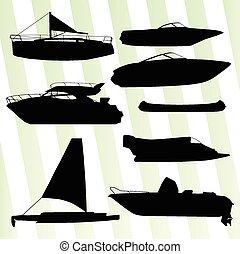 Yachts, boast silhouettes vector