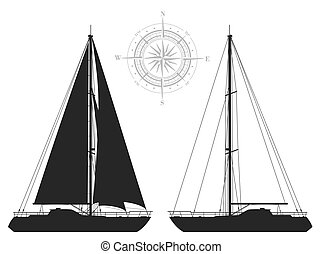 Yachts. Detailed illustration of two black yacht isolated on...