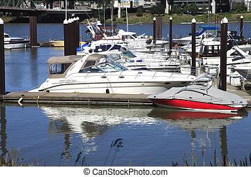 Yachts in a marina Portland Oregon.