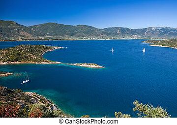 Yachts in Aegean sea