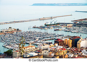 Yachts in Alicante harbor, Costa Blanca, Spain