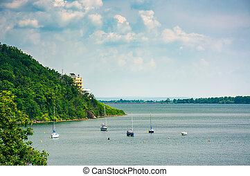 Yachts in harbor of Zemplinska Sirava lake, Slovakia....