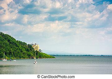 Yachts in harbor of Zemplinska Sirava lake, Slovakia. two...