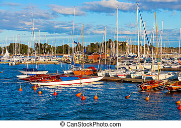 Yachts in Helsinki, Finland - Scenic summer view of harbor ...