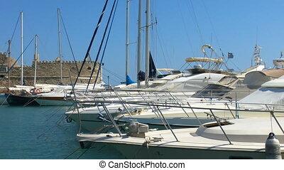 Yachts in Marina near Venetian Fortress Koules, Heraklion,...