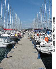yachts in marina - sailing yachts anchored in marina