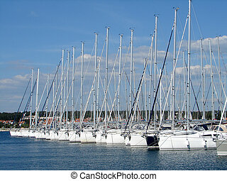 yachts in marina - sailing yachts out of season in marina...