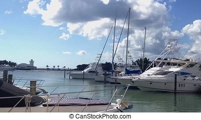 Yachts in marina - Luxury yachts in marina at summer