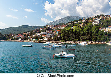 Yachts in port on the background of the Herceg Novi, Montenegro