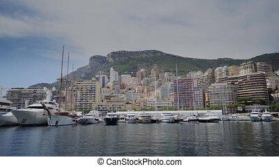 Yachts in sunny Monaco city Monte Carlo town Monte Carlo...