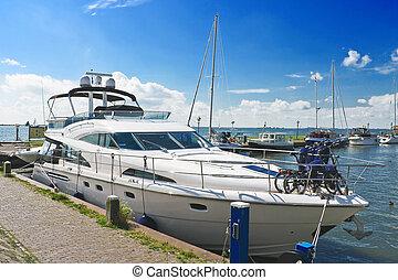 Yachts in the port of Volendam. Netherlands