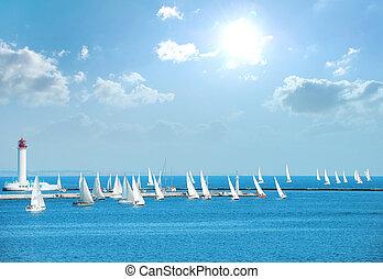 yachts in the regatta - yachts participate in the regatta, ...