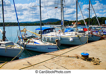 Numerous luxury yachts in Tsarevo port, Bulgaria