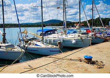 Yachts in Tsarevo port, Bulgaria - Numerous luxury yachts in...