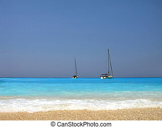 yachts in turquoise