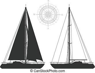 Yachts isolated on white background.