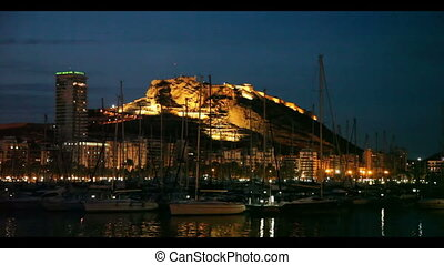 yachts lying at Port of Alicante in night. Spain