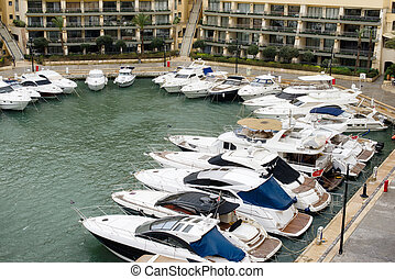 Yachts moored at Portomaso Marina, Malta