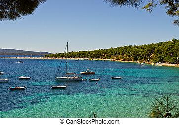 Yachts near Zlatni Rat beach, Brac island, Croatia