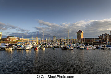 Yachts on the river Tawe in Swansea marina