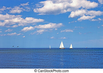 Yachts on the sea - Several yachts sailing on the Baltic...