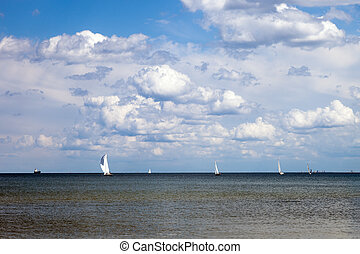 Yachts on the sea