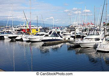Yachts & sailboats in a marina Vancouver BC. Canada.