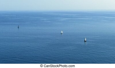 Yachts Sailing In Open Sea - Sailing Ship Yachts With White...