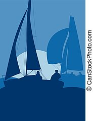 Yachts sailing regatta ocean landscape with sunset