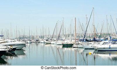 Yachts sea water boat - Aerial video of yachts at sea
