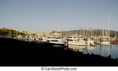 Yachts that are docked - A scenic shot of a pier. A lot of...