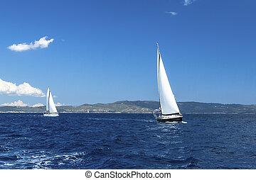 yachts., velejando, regatta., luxo