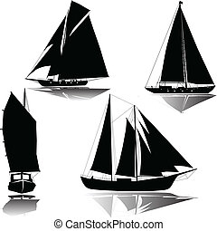 Yachts with sails silhouette