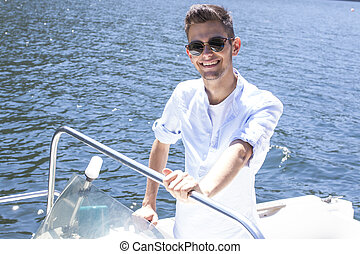 yacht's, zomer, man, jonge, vakantie