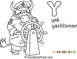 yachtsman, abc, yak, coloração, book., y, alfabeto