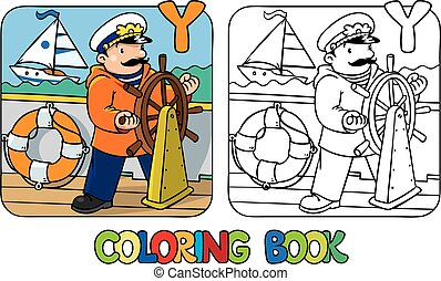 Yachtsman coloring book. Profession ABC Alphabet Y -...