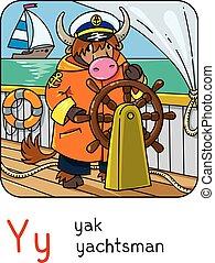 yachtsman., profissão, animais, abc., yak, y, alfabeto