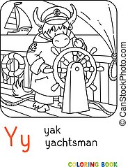 yachtsman, y, yak, coloração, alfabeto, book., abc