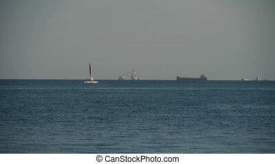 yachts,Sailboat & speedboats transportation sailing in sea.water surface