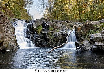 Yacolt Falls at Moulton Falls Park in Washington State in Fall Season