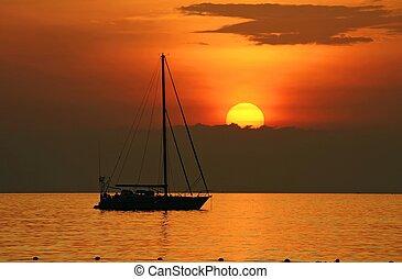 yacth, alatt, napnyugta, -ban, kata, tengerpart