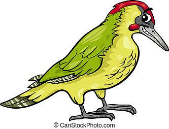 yaffle, caricatura, pájaro, ilustración, animal