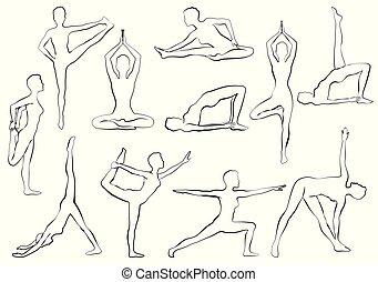 yaga, asana, frau, machen, joga, oder, pilates, übung, entspannung, und, meditation